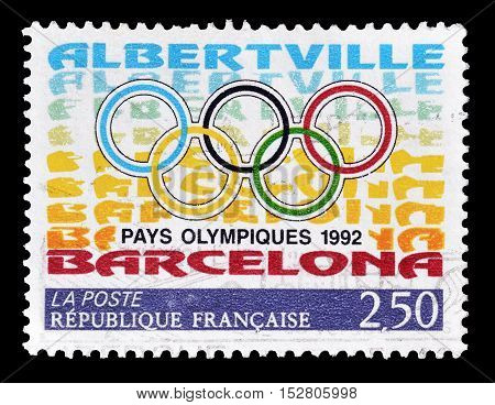 FRANCE - CIRCA 1992 : Cancelled postage stamp printed by France, that shows Olympic circles.