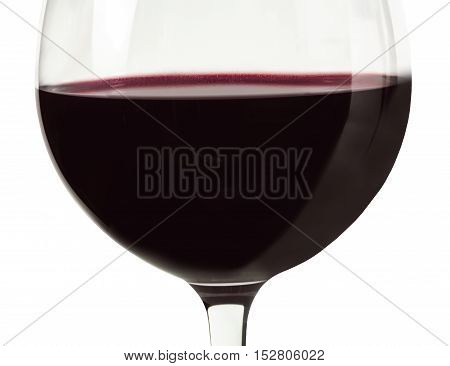 A closeup of a glass of red wine, shot on white background