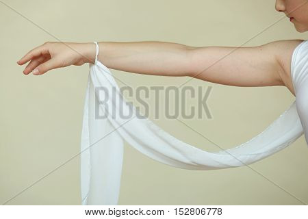 Closeup of ballerina's hand while she is dancing