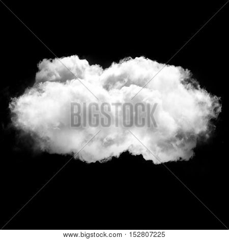 Single isolated cloud flying. White fluffy cloud drawing
