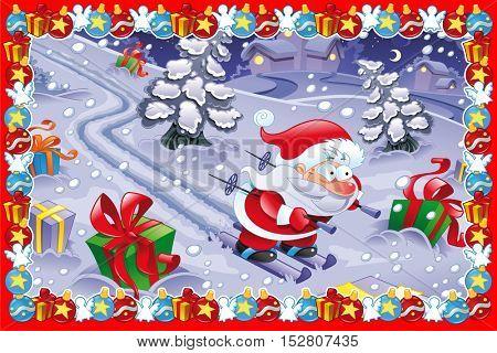 Funny Christmas card. Cartoon vector illustration