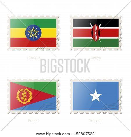 Postage Stamp With The Image Of Ethiopia, Kenya, Eritrea, Somalia Flag.