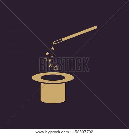 The magic wand and hat icon. Trick symbol. Flat Vector illustration