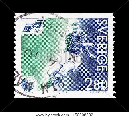 SWEDEN - CIRCA 1992 : Cancelled postage stamp printed by Sweden, that shows Football.