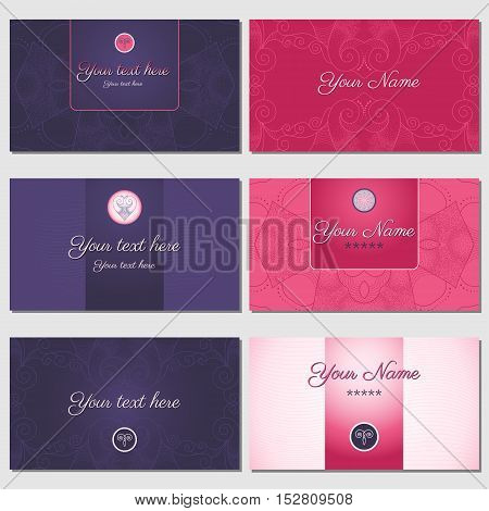 A set of six horizontal business cards. Abstract pattern. Cool colors. Complied with the standard sizes.