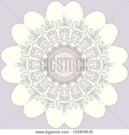 Abstract round lace pattern. Filigree ornament. Colors are easily editable.