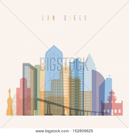 Transparent styled San Diego state California skyline detailed silhouette. Trendy vector illustration.