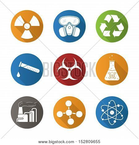 Chemical industry flat design long shadow icons set. Gas mask, recycle symbol, chemical test tube, danger poisonous liquid, factory pollution. Biohazard and molecule symbols. Vector symbols