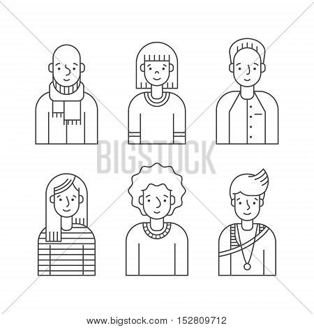 People outline gray icon vector set (men and women). Clean and simple design. Part three.