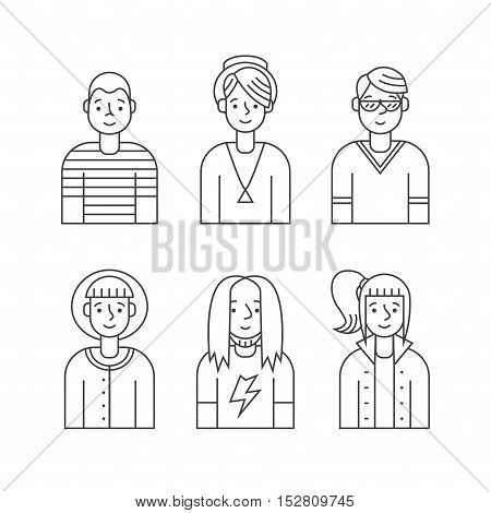 People outline gray icon vector set (men and women). Clean and simple design. Part one.