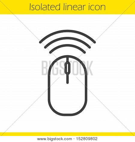 Wireless computer mouse linear icon. Thin line illustration. Contour symbol. Vector isolated outline drawing