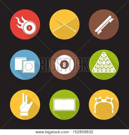 Billiard flat design long shadow icons set. Pool game equipment. Burning ball, crossed cues, brush, chalk, eight ball, ball rack, glove, table and rest head. Vector silhouette symbols