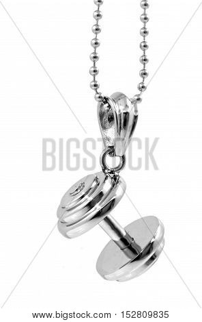 Dumbbell Pendant With Chain - Stainless Steel
