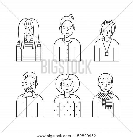 People outline gray icon vector set (men and women). Clean and simple design. Part five.