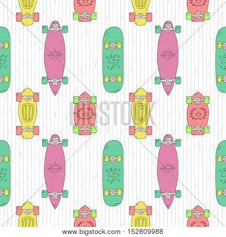 Skateboards and longboards cartoon style vector seamless pattern (purple-pink green yellow red). Part one.