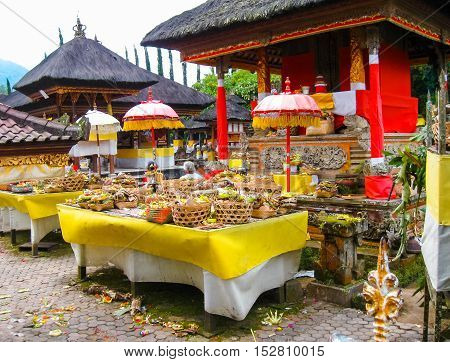 The gifts to the spirits in Hindu ceremony at Bali in Indonesia