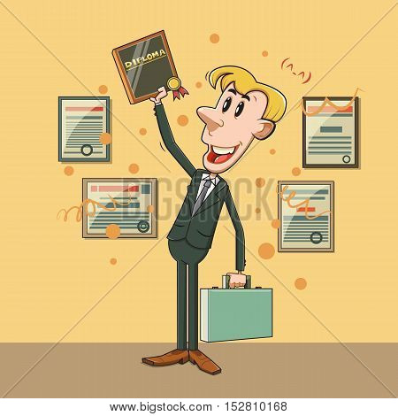 Happy cartoon businessman winner. Business concept flat abstract isolated vector illustration