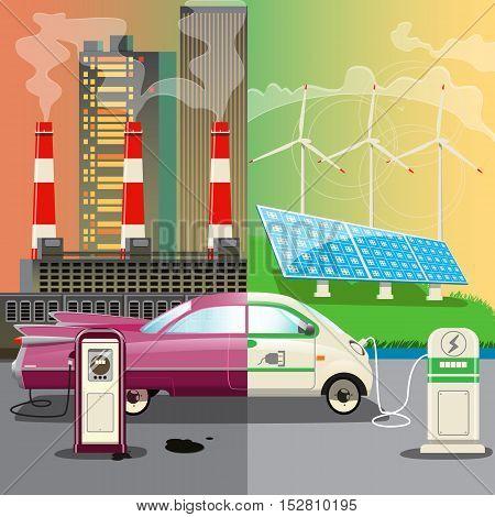 Global Environmental Pollution.Alternative energy.Card advertising environmental transport and eco refills