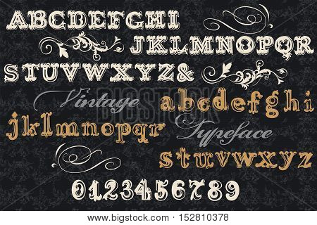 Font typeface vintage styled font with letters numbers. English ABC