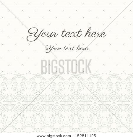 Vector abstract background with sample text in soft colors. Decor is delicate and filigree. Perfect as invitation or congratulation. Color easily changed. Can be used as a seamless background.