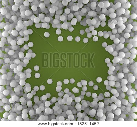 Background of golf balls with a blank space. 3d rendering