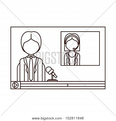 video media player with journalist transmission. broadcasting concept design. vector illustration