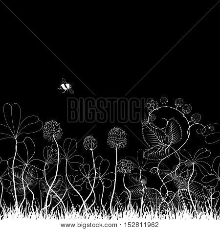 Seamless vector background. Clover and strawberry plants. Bumble bee and ladybug. Can also be used as a greeting card.