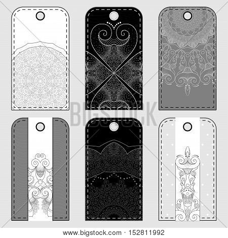 Set of six tags with abstract pattern. Colors are easily editable.