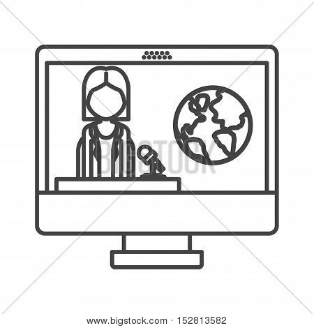computer monitor with news journalist man and earth icon on screen. vector illustration