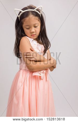 Child With Cat Ear Headband, Isolated On White