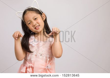 Kid With Cat Ear Headband, Isolated On White