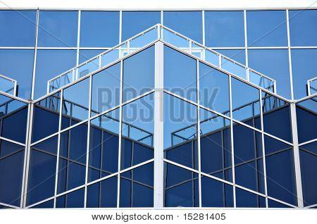 Close up of office windows in a modern sky scraper.