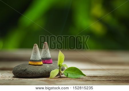 Close up view of spa theme objects on natural background