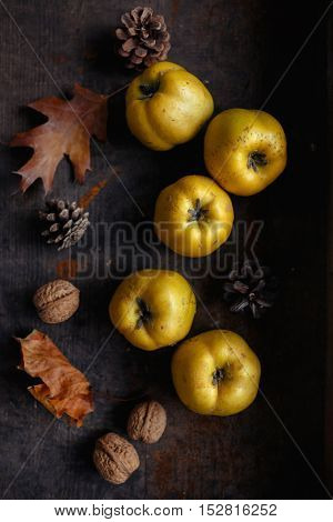 An autumn still life with quinces (Cydonia oblonga) on wooden table