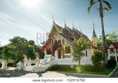 panoramic view of nice ancient Buddhist thai temple