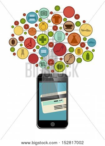 mobile phone shoping with credit card, vector