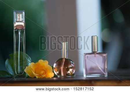 Luxurious Perfume bottles on table outdoor, France