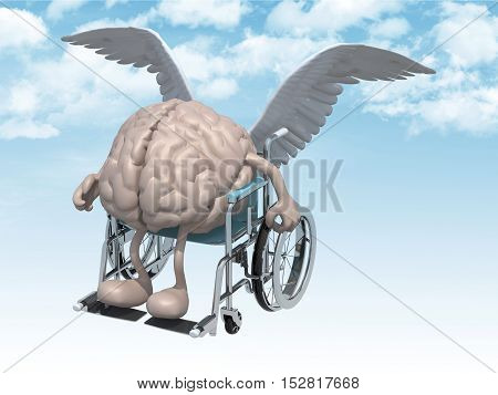 Human Brain On A Wheelchair With Bird Wings That Fly On The Sky
