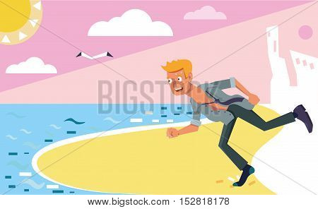 Manager runs to the beach for rest