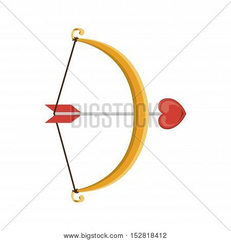 Archer weapon with arrow and hearts symbol. vector illustration