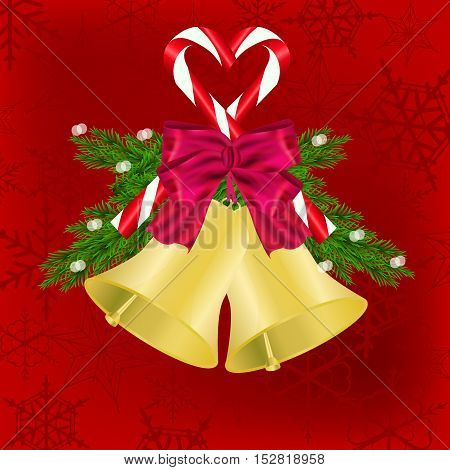 Christmas and New Year background with jingle bell