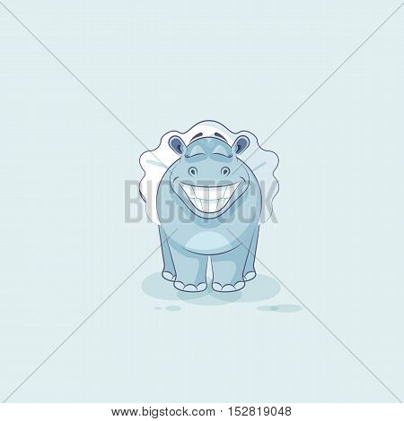 Vector Stock Illustration isolated Emoji character cartoon ballerina Hippopotamus with huge smile from ear to ear sticker emoticon for info graphic, animation, website, mail, newsletter, report, comic