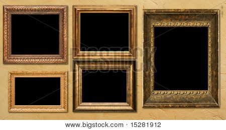 Antique frame collection, hanging on a wall. Add your own text or pictures.