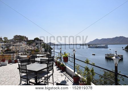 Amazing aerial view of Udaipur and lake Pichola from a terrace, Rajasthan, India