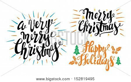 Greeting card design vector for Merry christmas