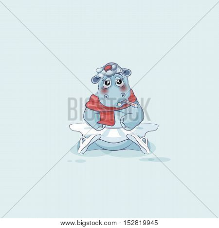Vector Stock Illustration isolated Emoji character cartoon ballerina Hippopotamus sick with thermometer in mouth sticker emoticon for info graphic, video, animation, website, mail, newsletters, report