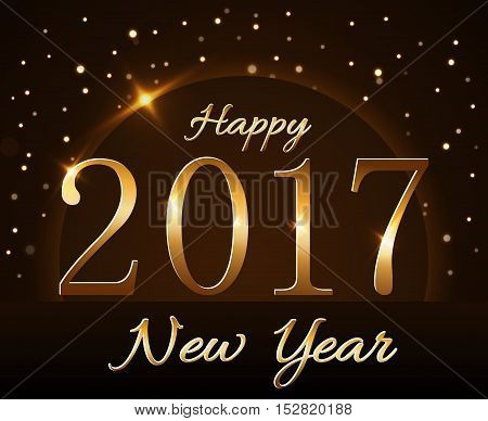 Happy New Year background with magic gold rain and globe. Golden numbers 2017 on horizon. Christmas planet design light glow and sparkle glitter. Symbol of wish celebration. Vector illustration