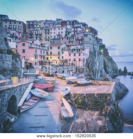 city manarola in cinque terre, Italy, toned like Instagram filter