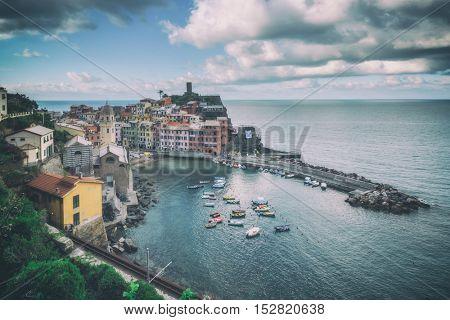 city corniglia in cinque terre, Italy, toned like Instagram filter