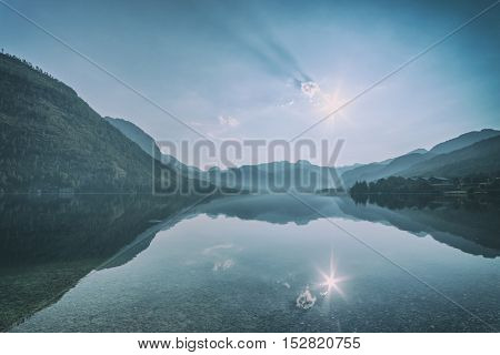 Sunny summer morning on the Grundlsee, Alps, Austria, Europe, toned like Instagram filter